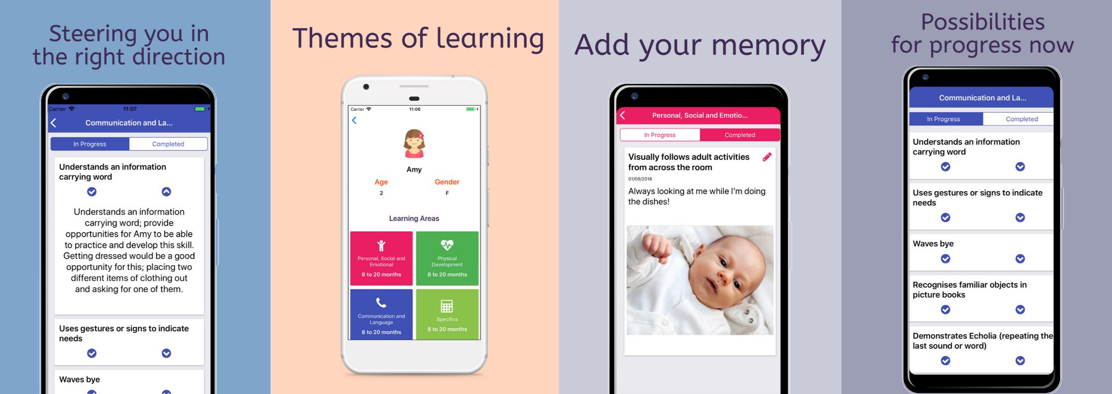 screenshots of the imi parent app